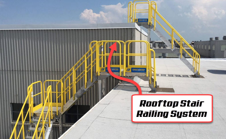 rooftop stair railing system